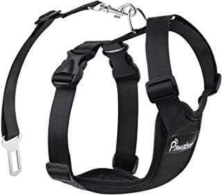 Pawaboo Dog Safety Vest Harness, Pet Car Harness Vehicle Seat Belt with Adjustable Strap and Buckle Clip, Easy Control for...