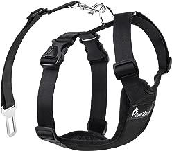 Pawaboo Cinturón de Arnés de Chaleco de Seguridad para Perros, Mascotas Arnés Ajustable para el Conductor para Perros de 11 lb-33 LB, Negro