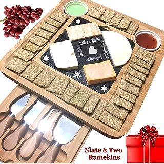 Slate Cheese Board Set w/Cutlery Set, 2 Bowl, Soap Stone Chalk, Bamboo Charcuterie Platter Wood Board, Perfect gift for Mom, Mothers, Women, Men Housewarming, Wedding, Birthday, Hostess