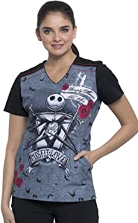 Cherokee Tooniforms Women's TF639 V-Neck Scrub Top, Misfit Love, X-Small