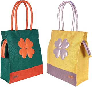 Foonty Exclusive Sunflower Daily Use Jute Lunch Bag(Combo of 2,Multicolor,FFFWB6015F)