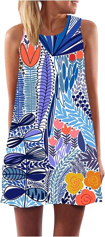 Oiumov Boho Dress for Women Casual Summer Tie Dye Patchwork Bodycon A-line Cami Casual Mini Beachwear Dress Sundress