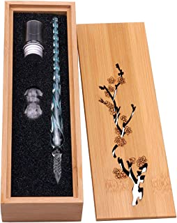 Glass Dip Pen Set Vintage Handmade Glass Signature Pen Elegant Crystal Dip Pen Sign Gift Pen (Light Blue)