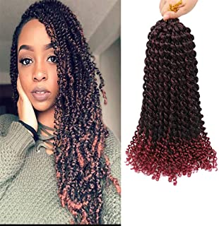VRUnique 6 Packs Ombre Passion Twist Crochet Hair Braids Water Wave Twist Crochet Bradis Soft Synthetic Braiding Hair Extensions (14 Inch 6 Packs, TB350#)