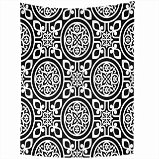 Ahawoso Tapestry Wall Hanging 50x60 Inches Pattern Baroque Black Abstract Floral Frame Damask Geometric Antique Classic Color Design Rococo Home Decor Tapestries Art for Living Room Bedroom Dorm