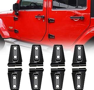 JeCar Door Hinge Cover Trim Exterior Accessories for Jeep Wrangler JK JKU Sport Rubicon Sahara X 2007-2018, Black