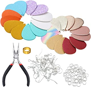 PP OPOUNT 24 Pieces 12 Pairs Faux Leather Earrings DIY Kit with 30 Pieces Earring Hooks, 30 Pieces Jump Rings, Jump Ring Tools and Pliers for Earring Making Crafts