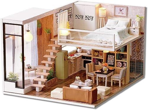 grandes ofertas Yishelle Casa Casa Casa de muñecas de Madera Hecha a Maño DIY Kit en Miniatura - Modelo de habitación y Muebles para un Creativo Regaño de cumpleaños montaño Día de San Valentín  venta al por mayor barato