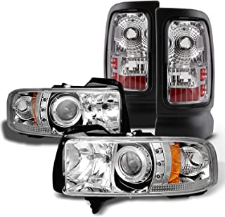 For Dodge Ram 1500/2500/3500 Pickup Clear Dual Halo Ring LED Projector Replacement Headlights + Tail Light Set