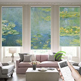 Yoolax Motorized Blackout Window Shades Painting Design Free-Stop Wireless Rechargeable Window Blinds Customize Size Shades (Water Lilies)