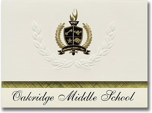 Signature Announcements Oakridge Middle School (Muskegon, MI) Abschlussankündigungen, Pr dential-Stil, Gründpaket mit 25 Goldfarbenen und Schwarzn metallischen Folienversiegelungen