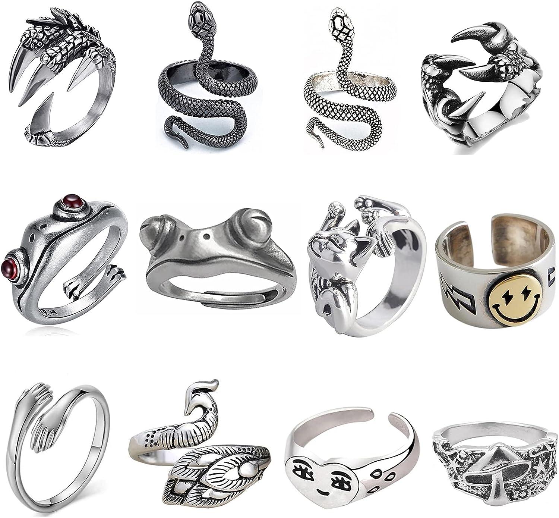 2Pcs Snake Ring For Women Punk Adjustable Serpent Ring Animal Jewelry