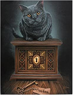 Lisa Parker - Pandora's Box 25cm x 19cm Canvas Print - Black Cat & Box