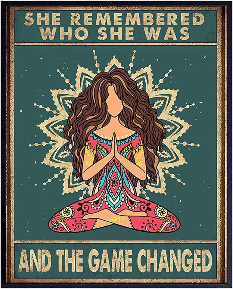 She Remembered Who She Was And The Game Changed - Bohemian Boho Wall Decor - New Age Zen Meditation Decor - Inspirational Wall Art - Inspiring Quotes -Uplifting Spiritual Motivational Gifts for Women