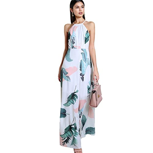 94ae7153fe50 Floerns Women s Sleeveless Halter Neck Vintage Floral Print Maxi Dress