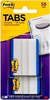 Post-it Tabs, 2 in, Solid, Blue, 25 Tabs/On-the-Go Dispenser, 2 Dispensers/Pack (686F-50BL)