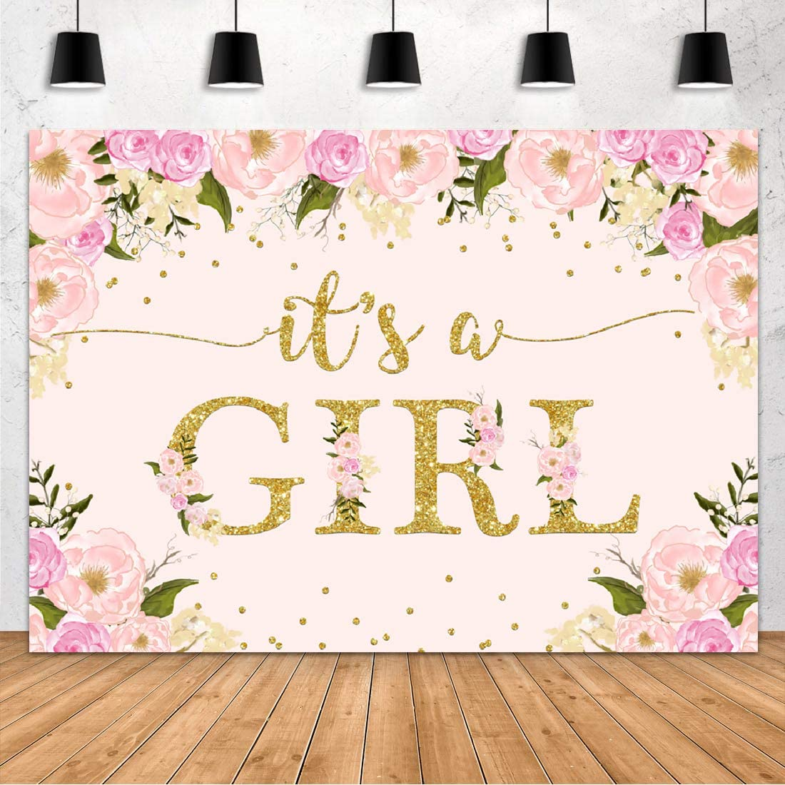 Aperturee It's a Girl Baby Shower Backdrop Watercolor Pink Floral Flowers Golden Dots Photography Background 7x5ft Flower Baby Girl Party Decoration Photo Booth Studio Photoshoot Props Banner Supplies