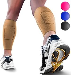 Calf Compression Sleeves by SPARTHOS (Pair) – Leg Compression Socks for Men and Women – Shin Splint Calf Pain Relief Calf Air Travel Flight Nurses Maternity Basketball Football Soccer (Beige-L)