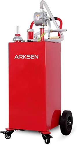 Arksen 30 Gallon Portable Gas Caddy Fuel Storage Tank Large Gasoline Diesel Can Hand Siphon Pump Rolling Wheels, Red