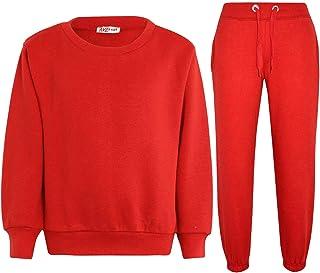 Kids Girls Boys Plain Crew Neck Jumper Tracksuit Sweatshirts & Bottom Jog Suit