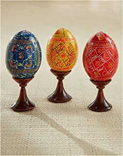 Religious Gifts Set of 3 Ukrainian Wooden Hand Painted Easter Pysanky Eggs on Egg Stands 3 1/2 Inch