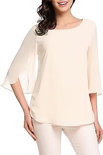 592e6da1 ACEVOG Womens Casual Scoop Neck Loose Top 3/4 Sleeve Chiffon Blouse Shirt  Tops