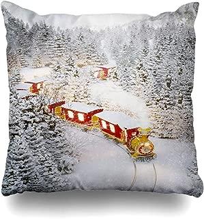 Ahawoso Decorative Throw Pillow Cover Train North Amazing Cute Christmas Goes Railway Through Parks Pole Tree Winter Celebration Design Home Decor Pillowcase Square Size 18