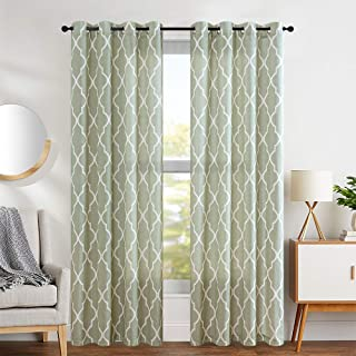 jinchan Moroccan Tile Curtains Print for Living Room Curtain Lattice Flax Linen Blend Textured Grommet Quatrefoil Window Treatment Set for Bedroom Geometry 2 Panels 84