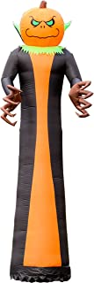 Halloween Haunters Giant 10 Foot Inflatable Black and Orange Grim Reaper with a Pumpkin Head Yard Prop Decoration with LED Lights - Scary Indoor Outdoor Lawn Blow Up, Haunted House Ghost Party Display