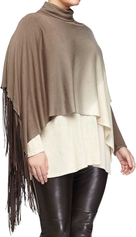 5ae0124cc Marina Rinaldi Women's Atena Knit Fringe Shawl Small Brown Beige ...