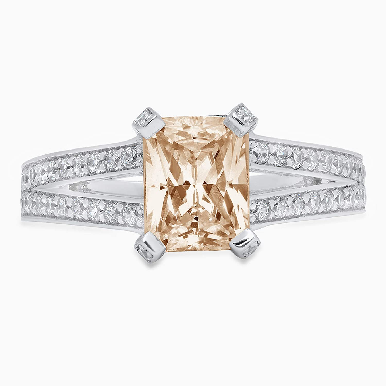 2.64ct Emerald Cut Solitaire with Accent split shank Brown Champagne Ideal VVS1 Simulated Diamond CZ Engagement Promise Statement Anniversary Bridal Wedding Ring Solid 14k White Gold