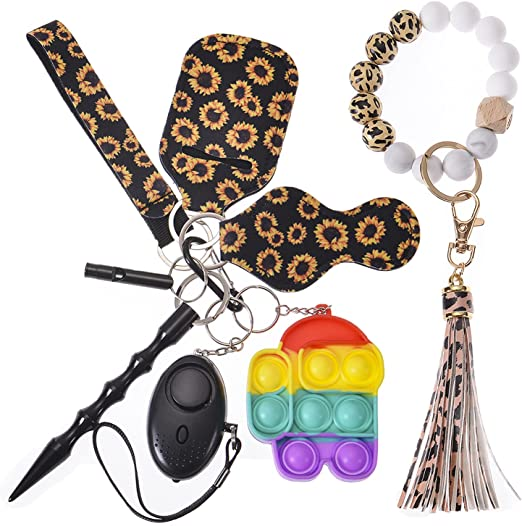 Self Defense Keychain Leopard Silicone Beads keyring Set Safety Keychain with Alarm,Window Breaker,Wristlet Tassel Car Keychain Gift 8 in 1 Self Defense Kit for Women