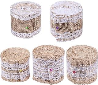5 rolos de tecido de fita de juta hexagonal com renda para artesanato da Exceart