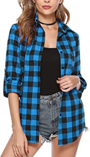 Women's Button Down Long Sleeve Roll Up Boyfriend Plaid Flannel Shirt Casual Tops with Pockets