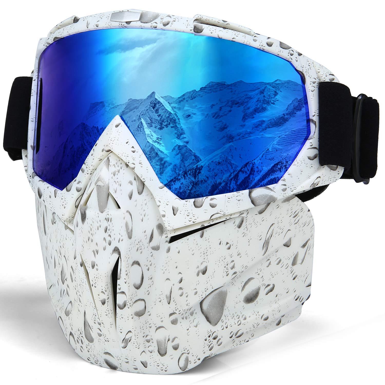 Kutook Motorcycle Goggles Snowboarding White