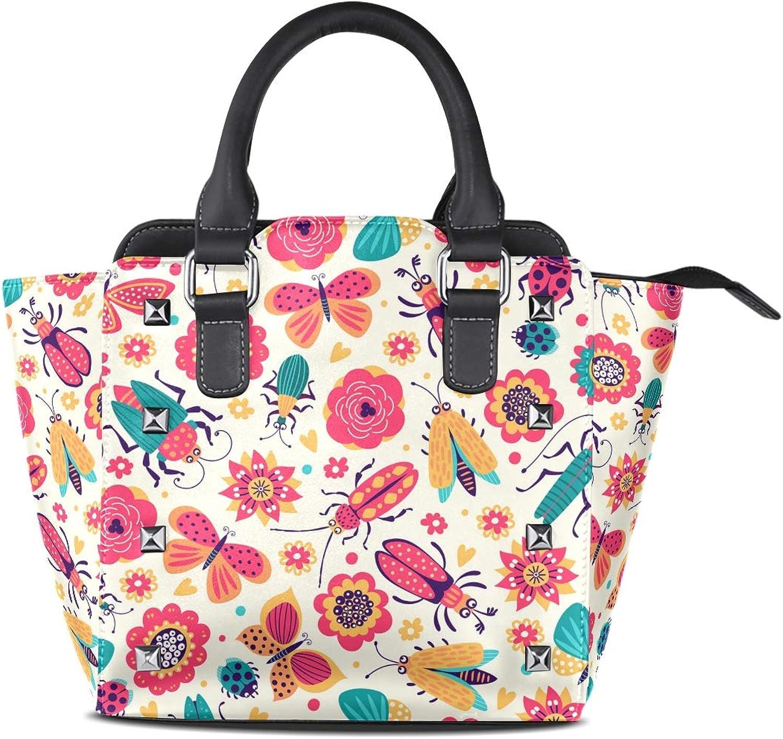 My Little Nest Women's Top Handle Satchel Handbag Cartoon Beetles Butterflies Ladies PU Leather Shoulder Bag Crossbody Bag