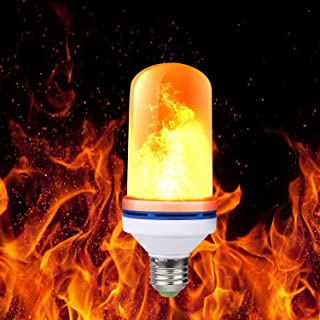 LED Flame Bulb, 4 Modes LED Flame Effect Fire Light Bulb with Upside Down Effect Simulated, E26 LED Flickering Flame Light Bulbs, Decorative Light Atmosphere Lighting - Flame Bulb for Home/Festival