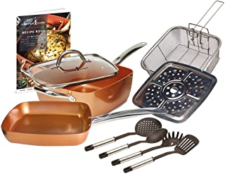 Copper Chef 10 Piece Cookware Set - 9.5 Inches Deep Square Pan & Frying Pan, Includes Fry Basket, Steamer Rack, Utensil Set and Recipe Book