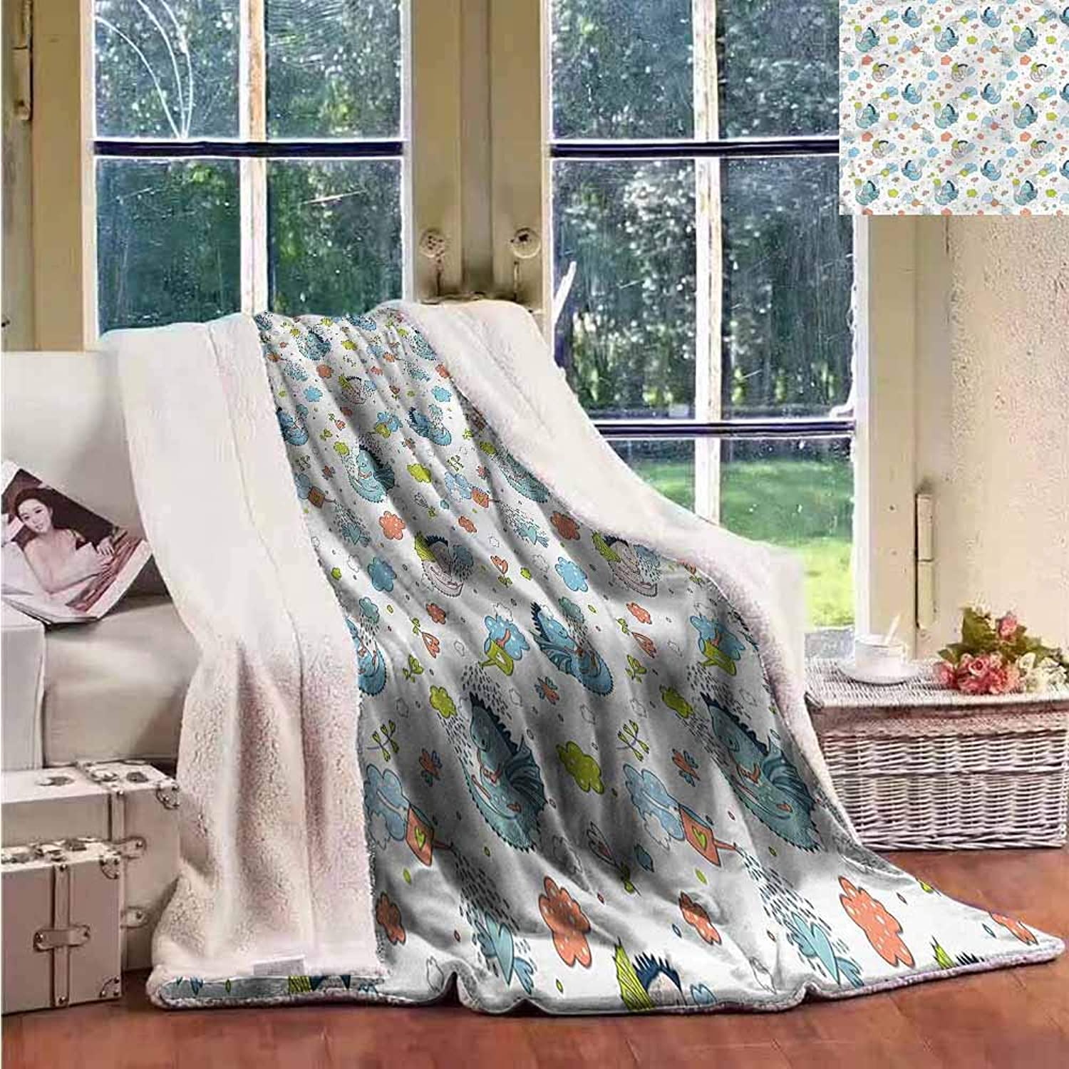Sunnyhome Flannel Double Blanket Boys Room Hand Drawn Kid Dragons Throw Blanket Picnic Blanket W59x31L