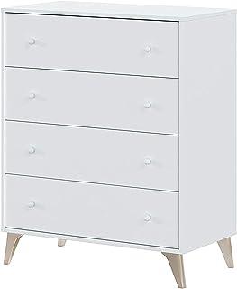 comprar comparacion Habitdesign 007804A - Comoda 4 Cajones, Sifonier, Modelo Sweet, Color Blanco Artik, Medidas: 77,5 cm (Largo) x 40 cm (Fond...