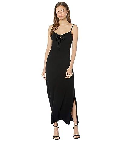 Michael Stars Vintage Jersey Johanna Maxi Dress with Keyhole Tie (Black) Women