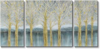 Abstract Birch Canvas Wall Art: Tree in Forest Painting Artwork Print on Canvas for Living Rooms (24'' x 24'' x 1 Panel + 24'' x 12'' x 2 Panels)