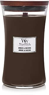 WoodWick Świeca zapachowa klepsydry z innowacją pluswick, parafiną, bursztynem i kadzidełem, duża