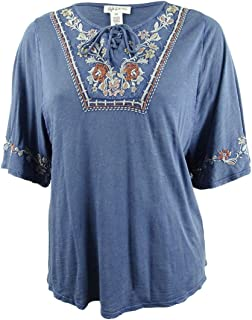Style & Co. Womens Plus Lace-Up Embroidered Peasant Top