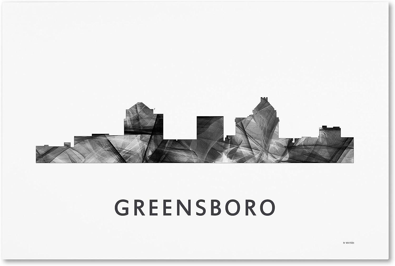 Greensboro Nc Skyline Wb Bw By Marlene Watson 12x19 Inch Canvas Wall Art Posters Prints Amazon Com