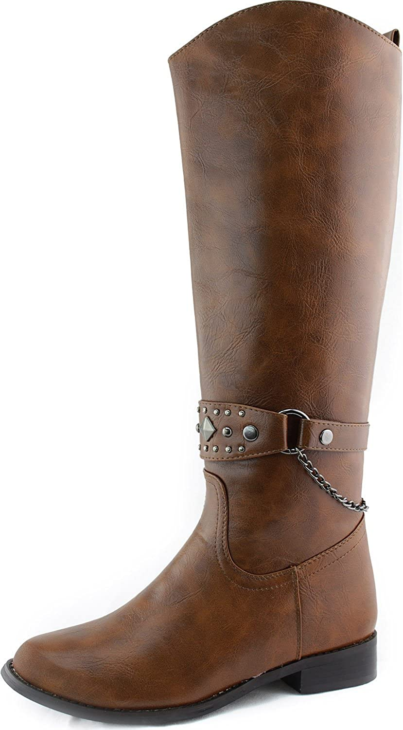 Women's Thigh High Rider Over Knee High Buckle Chain Strap Cowboy Riding Boots Fashion Shoes