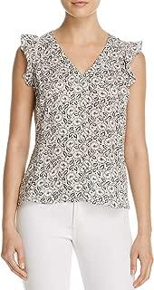 Rebecca Taylor Women's Floral Print Silk Ruffle Top
