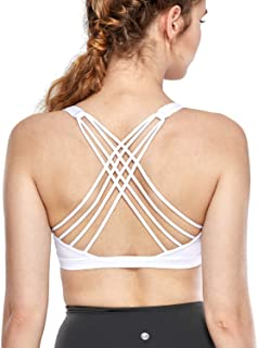 CRZ YOGA Women's Light Support Removable Caps Strappy Wirefree Yoga Sport Bra