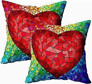 Ducan Lincoln Pillow Case 2PC 18X18,Funda De Almohada De Tiro Cuadrado,Fundas De Cojín De Algodón En Estilo De Vidriera Corazón Rojo Los Dos Lados Impresión Cremallera Conjuntos Funda De Almohada