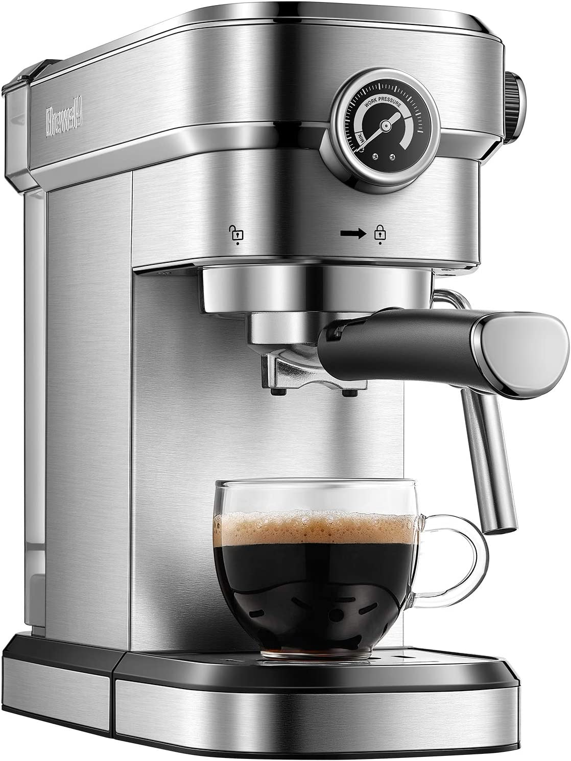 Brewsly 15 Bar Espresso Machine, Stainless Steel Compact Espresso Maker with Milk Frother Wand , Professional Coffee Machine for Espresso, Cappuccino and Latte